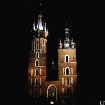 Church of the Virgin Mary at night in Kraków